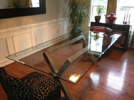 rectangular beveled edge glass table top