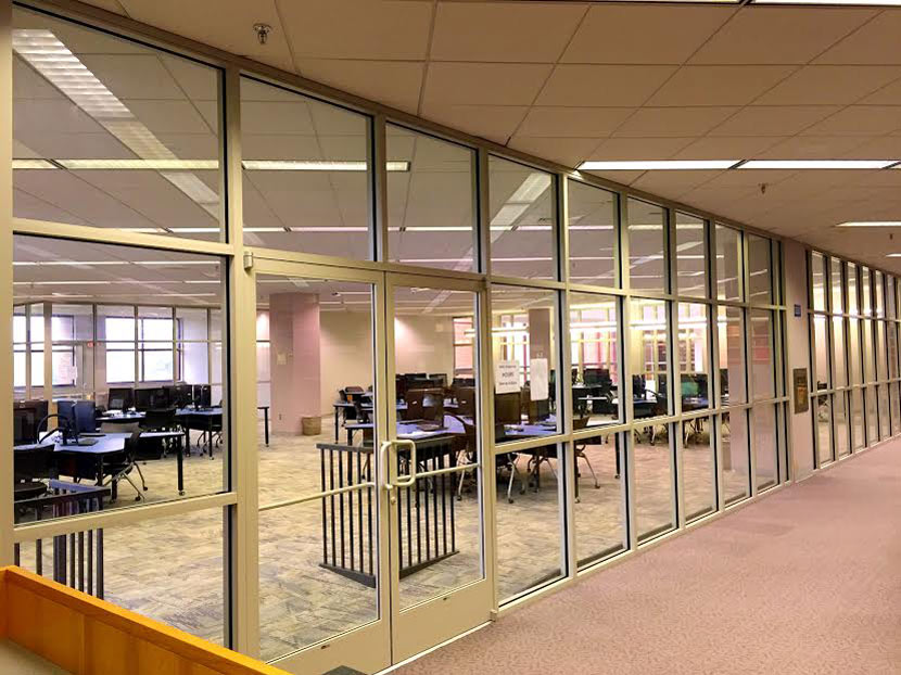 interior glass wall installation hampton university harvey library